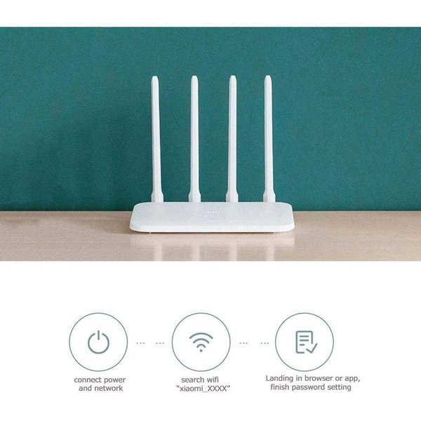 Xiaomi Mi WIFI Router 4C Roteador APP Control 64MB RAM 802.11 b/g/n 2.4G 300Mbps 4 Antennas Wireless Routers Repeater for Home - Mi Wifi App, Anroid and iOS Compatible - White